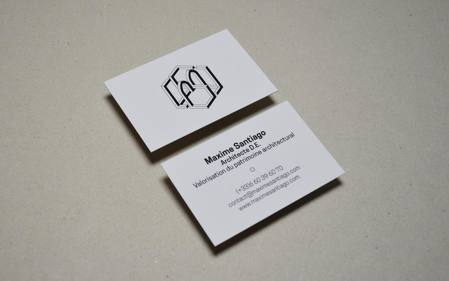 Cartes De Visite Et Logo Maxime Santiago Architecte DE Philippe Barthelemy